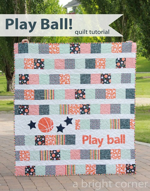 Play Ball Quilt Free Tutorial designed By Andy Knowlton of a Bright Corner