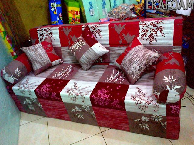 SOFABED INOAC TERBARU motif padi merah maroon