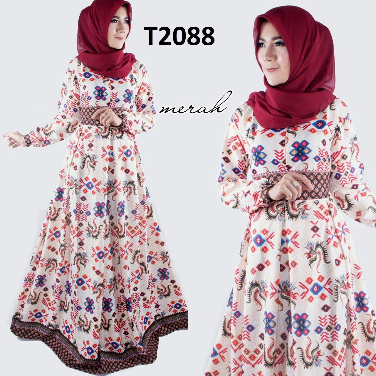 Baju Batik Wanita Model Gamis Terbaru 2017 T2088