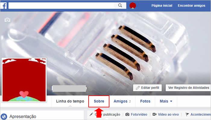 Configurações sobre do Facebook