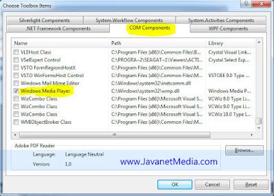 Cara Menambahkan Windows Media Player Pada Toolbox VB .NET