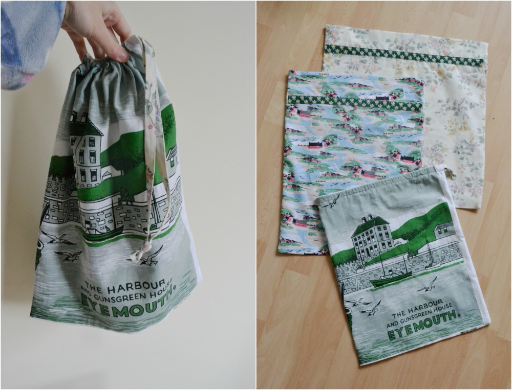 drawstring tote projects bags recycled fabric houses boats tea towel charity shop