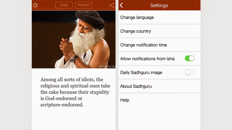5 free best and must to have spiritual android apps for 2015 - Free Mystic quotes by sadhguru android app - Turn Spiritual, Turnspiritual.in
