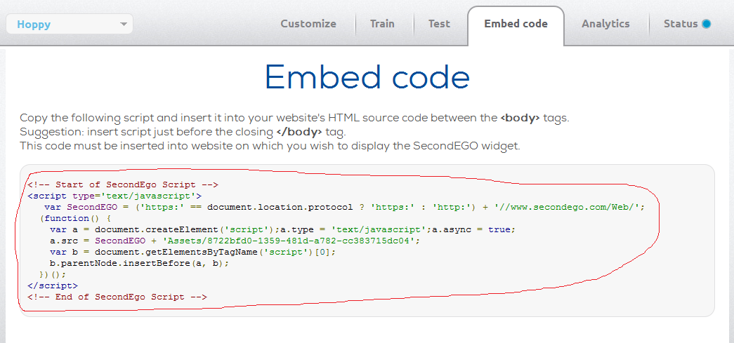 SecondEGO - Embed code tab
