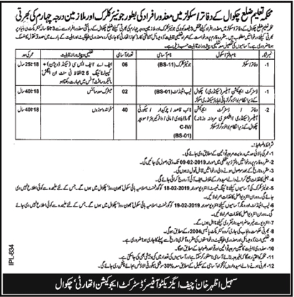 Jobs Vacancies In Education Department Chakwal 02 February 2019