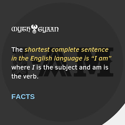 "English Facts: The shortest complete sentence in the English language is ""I am"" where I is the subject and am is the verb."