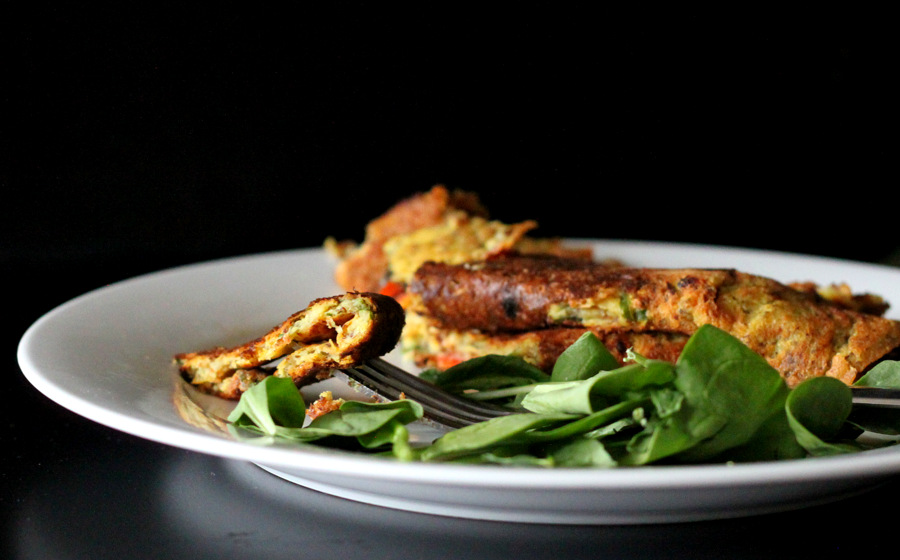 Chickpea flour Omelette with spinach, onion, tomato, bell ...