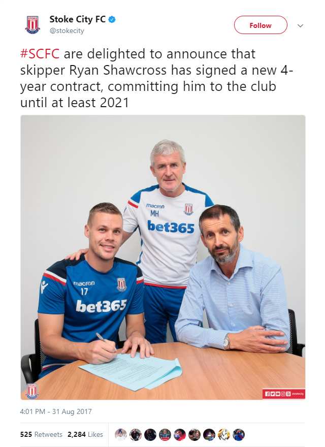 Stoke City announce captain Ryan Shawcross has extended his contract