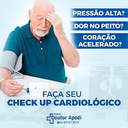 Venha fazer seu check up do coração. Na clínica Doutor Apodi dispomos de Eletro, ecocardiograma,