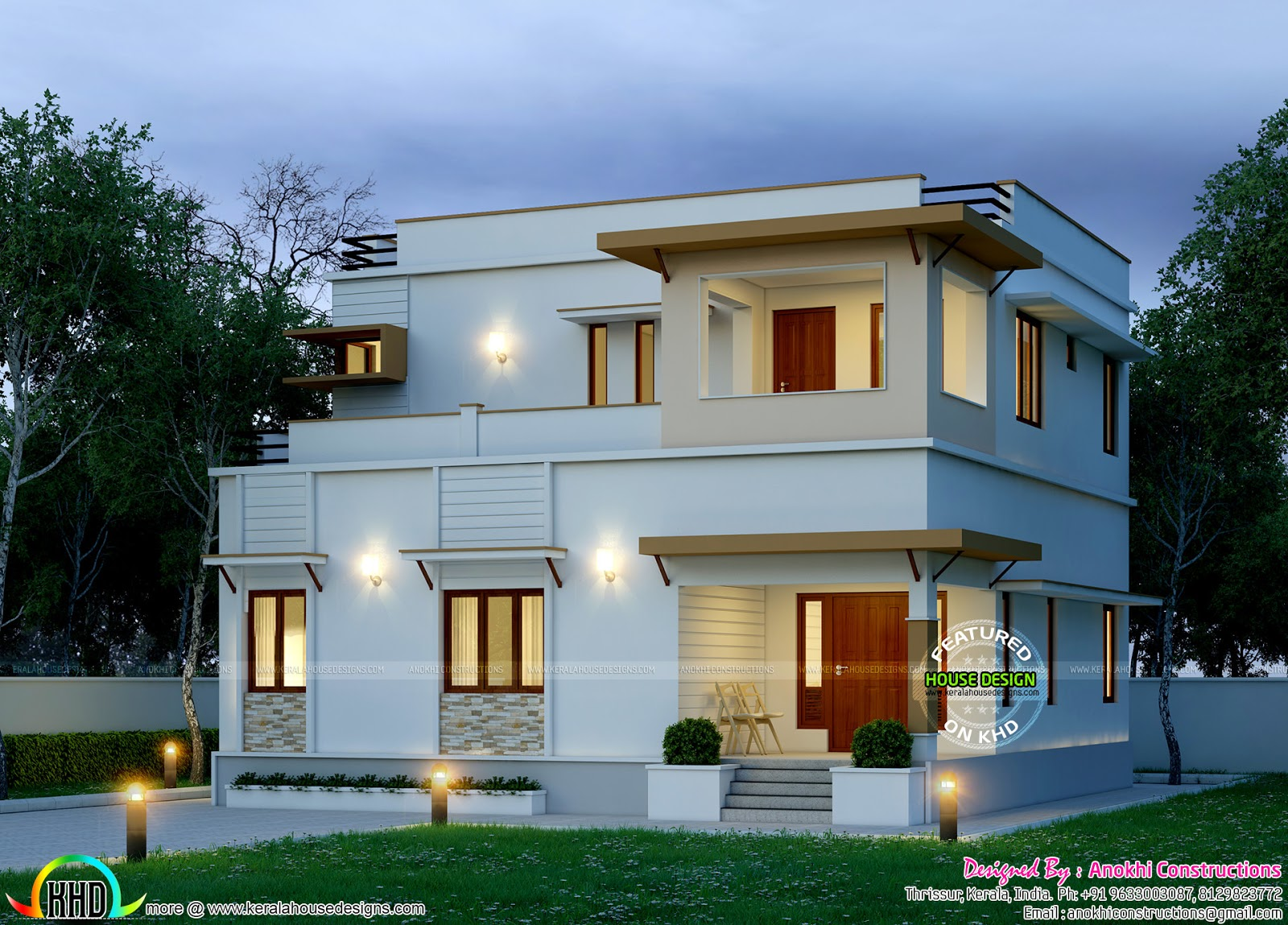 Nicely designed modern home kerala home design and floor for Nice modern houses