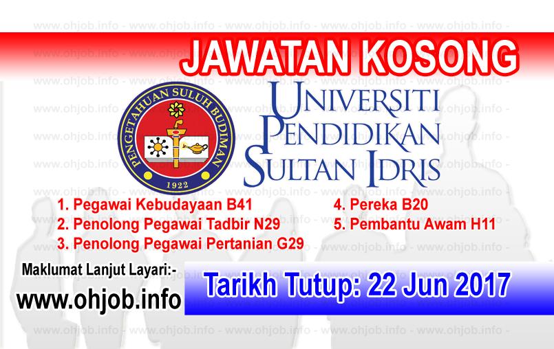 Jawatan Kerja Kosong Universiti Pendidikan Sultan Idris - UPSI logo www.ohjob.info jun 2017
