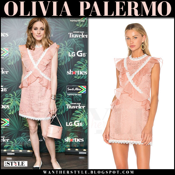 Olivia Palermo in pale pink amur phoebe lace mini dress at Shorties Fest june 28 2017 what she wore designer finder