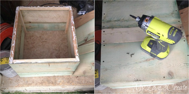 attaching bottom of crate with screws