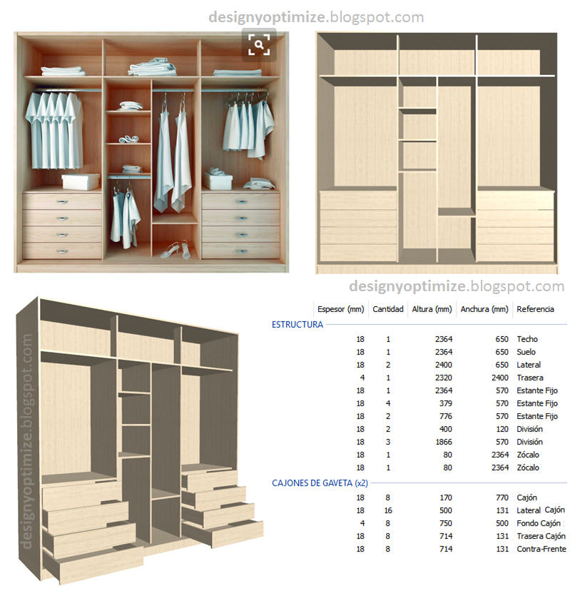 Dise o de muebles madera fabricando closet sin puertas for Diseno zapateras para closet