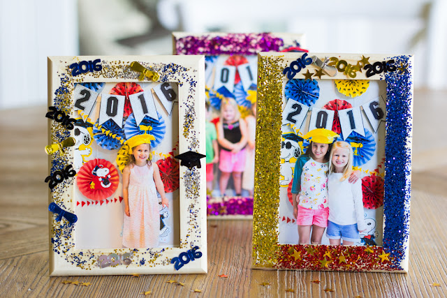 Preschool graduation ideas - DIY glittered picture frames!