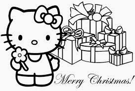 Christmas Hello Kitty Coloring Pages 1