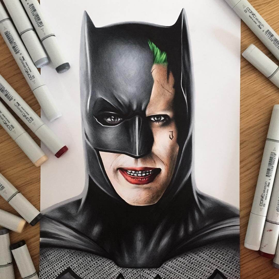 02-Batman-Joker-Stephen-Ward-Movie-and-Comics-Superheroes-and-Villains-Drawings-www-designstack-co