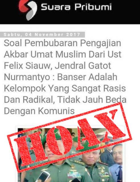 TNI Buru Situs Hoax Adu Panglima dengan Banser