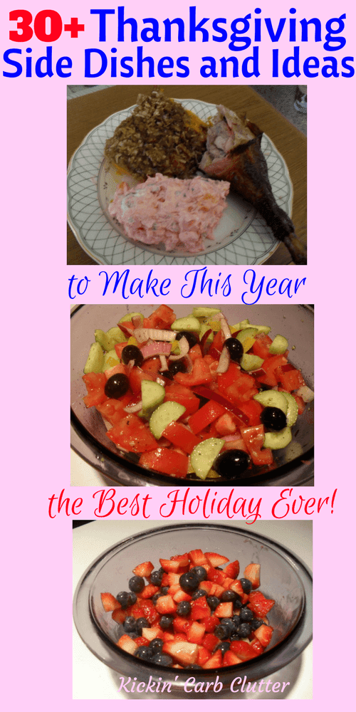 Pinterest Image: Smoked Turkey, Pumpkin Casserole, Fluffy Salad, Tomato Salad, and Fresh Berries