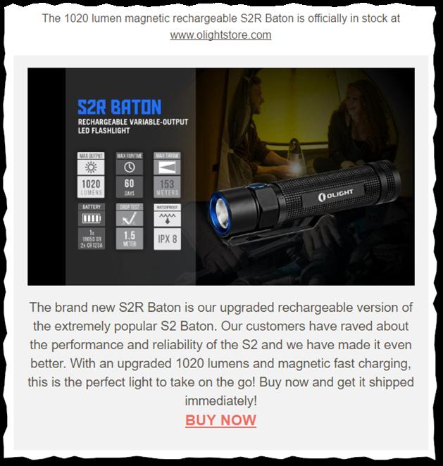 E-mail o dostępności modelu S2R firmy Olight