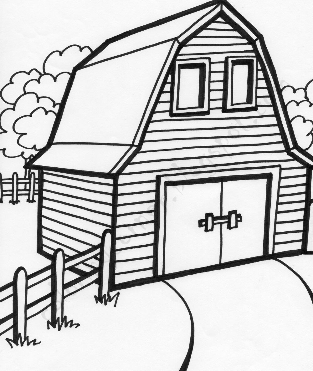 barn pictures to coloring pages - photo#1