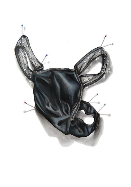 dessin d'un string en dentelle noire épinglé