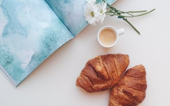 Wallpaper: A Snack with Coffee & Croissant