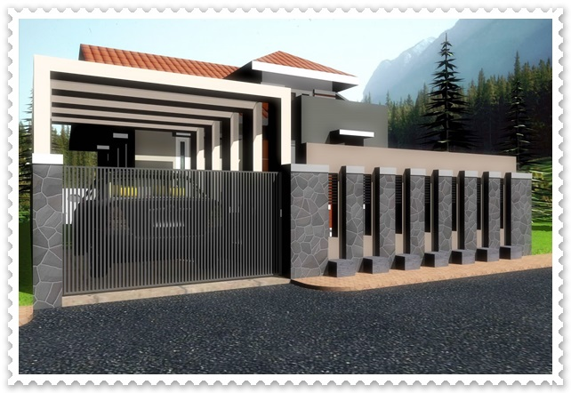 gambar pagar rumah minimalis kombinasi batu alam