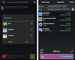 Memilih apa yang akan di restore (kiri) dan melihat aplikasi yang diarsipkan (kanan).