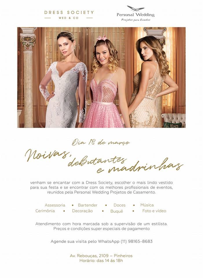 Evento Dress Society Wed & Co, dia 18 de março - imperdível!