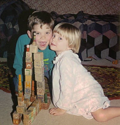 Nathan and Laura playing with blocks