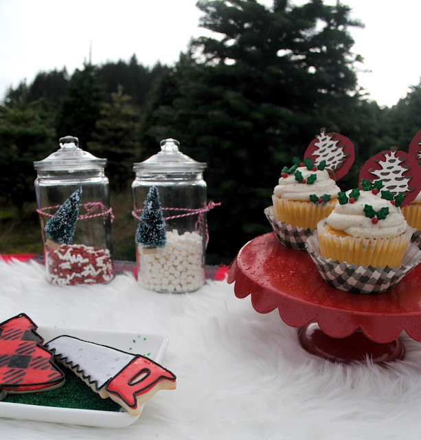 Cupcakes and cookies while hunting for the perfect tree. More inspiration at FizzyParty.com