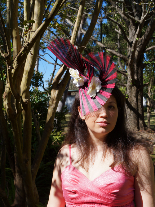 Pink and black jinsin fascinator