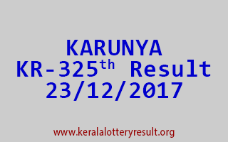 KARUNYA Lottery KR 325 Results 23-12-2017