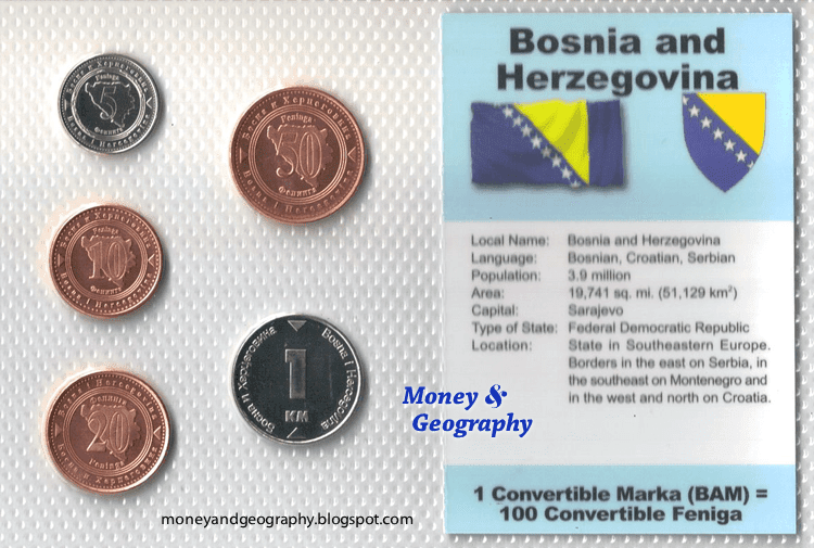 Front side of the Bosnia and Herzegovina coin set