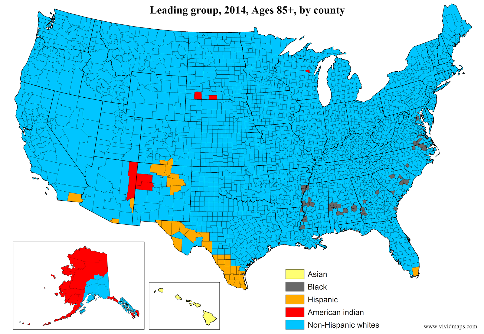Leading group, Ages 85+, by county