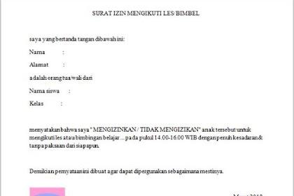Contoh Surat Izin Mengikuti Les atau Bimbel