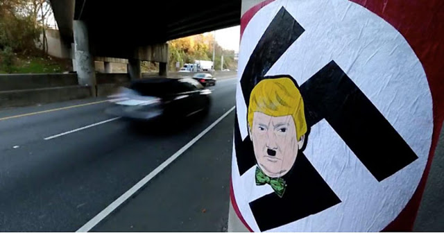 Trump as Hitler in a sporty bow tie. Graffiti on an Atlanta overpass, Dec. 2015. Lost your confederate flag, but want everyone to know you are a racist? Try a Trump bumper sticker. marchmatron.com