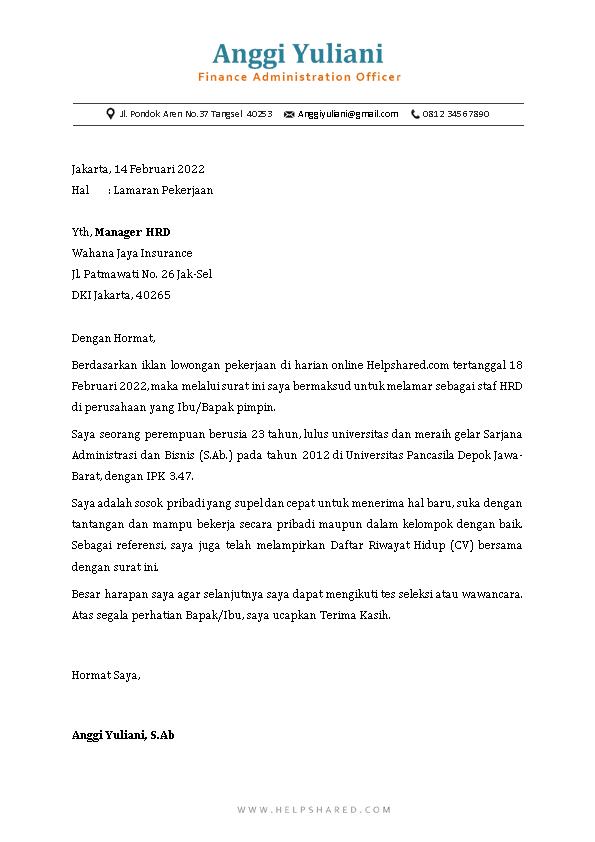 Contoh Surat Lamaran Kerja 2