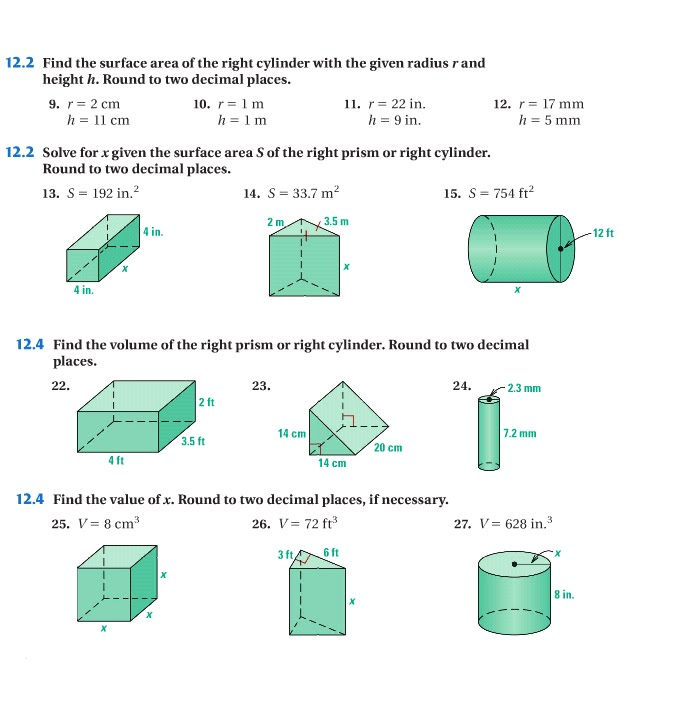 Geometry Surface Area And Volume Of Prisms And Cylinders