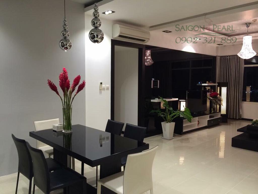 Bán căn Saigon Pearl 3 phòng ngủ tòa Ruby 2 view công viên Vinhomes - bàn ăn view phòng khách