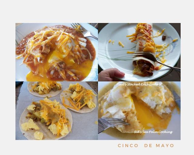 Huevo Rancheros, Breakfast Burrito, Peggy's Paparito's, Stacked Enchilda