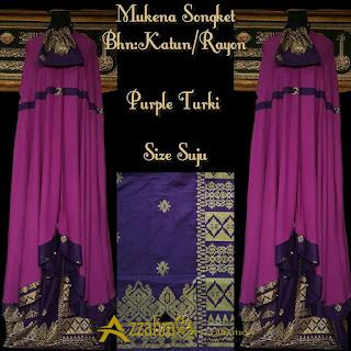 Gambar Mukena Songket Prada Bali Paling Anyar Purple turki