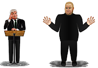 Cartoon of liar Chris Dodd and Kim Dotcom
