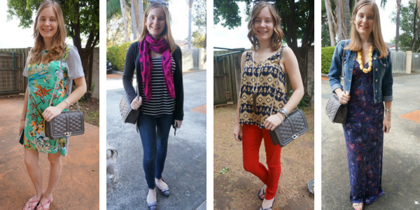 Rebecca Minkoff Love Bag outfit ideas with prints | away from blue 30 wears blog post