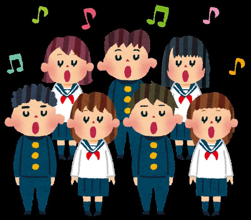 合唱のイラスト「合唱コンクールの学生たち」 | かわいい ...