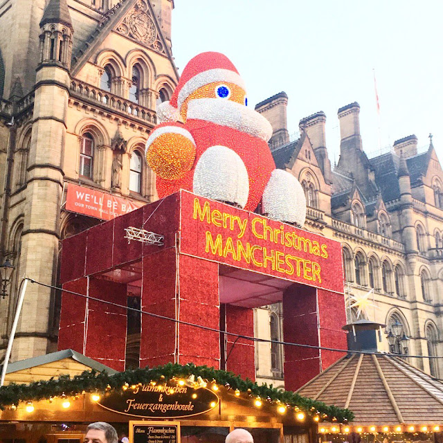 Manchester christmas market - the santa on the town hall