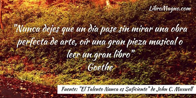 """""""Nunca dejes que un día pase sin mirar una obra perfecta de arte, oír una gran pieza musical o leer un gran libro"""" Goethe"""