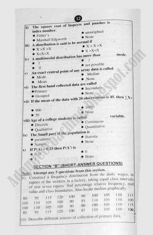 Statstics Guess Papers Commerce Group XII Class 12th 2013