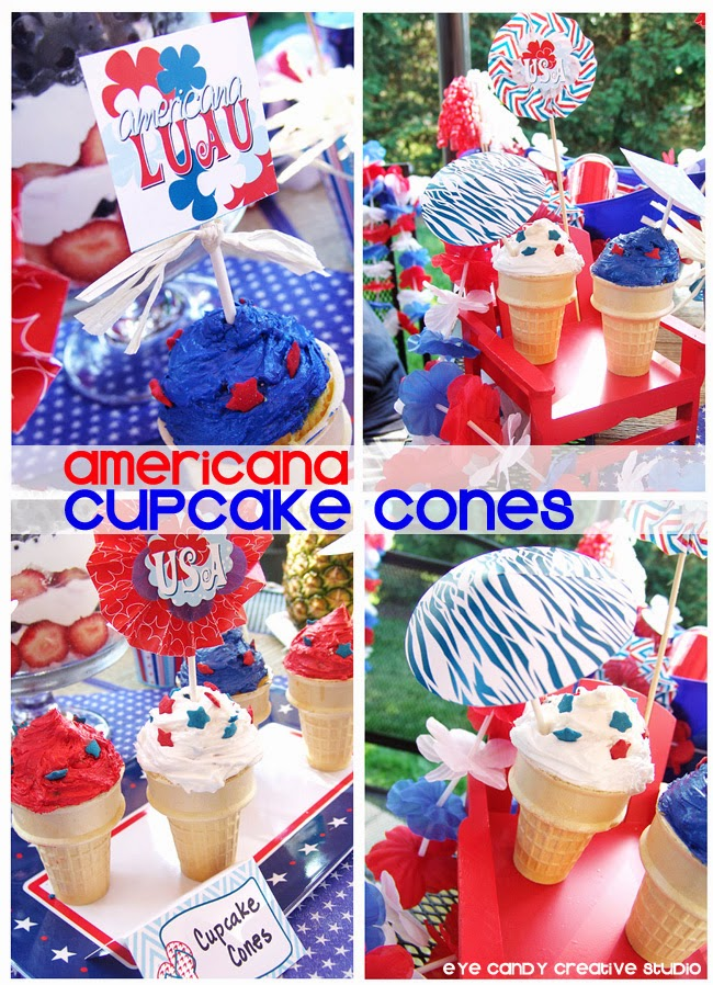 luau ideas, USA, summertime, food umbrellas, red white & blue, cupcake idea